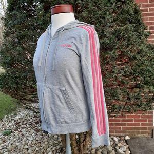 Adidas Trefoil Stripe Hoodie Workout Jacket